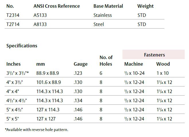 Mckinney Plain Bearing Hinges Standard Weight T2314