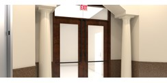 Lobby Door - Black Suede Powder Coat Finish